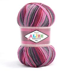 Alize superwash randig sockgarn