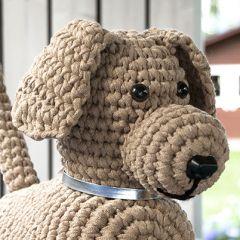 Virkkausohje virkattu pehmolelu Laikku-koira