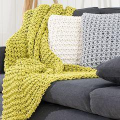 Neule ohjeet neulottu peitto ja tyynynpäälliset mini-ontelokuteesta