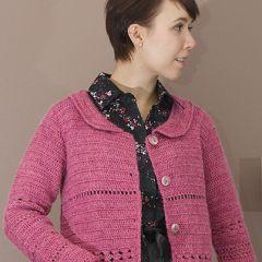 Virkattu pinkki jakku, ilmainen ohje.