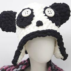 Ohje sormivirkattu panda myssy