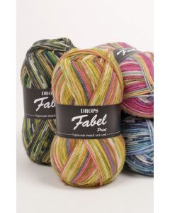 Drops fabel print sock yarn